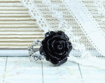 Black Rose Ring Gothic Ring Black Flower Ring Black Rose Jewelry Victorian Ring Black Floral Ring Adjustable Ring