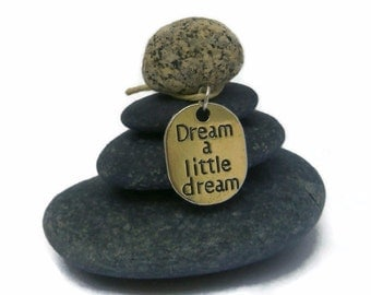 Dream a Little Dream Rock Cairn, Imagination, Inspirational, Daydream, Positive Energy, Stacked Stone Cairn,  Desk Gift Holiday Secret Santa