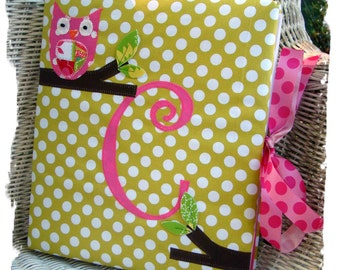 Custom Owl Baby Book With Initial