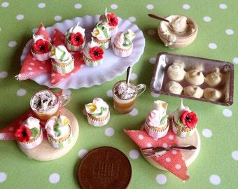 Floral Summer Cupcakes Miniature Dollshouse Scene