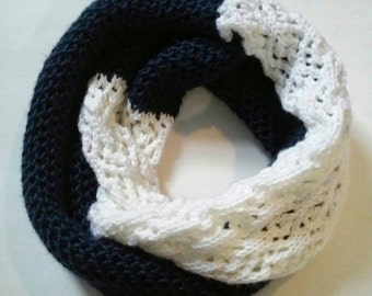 Navy Blue and White Lace Infinity Scarf Cowl