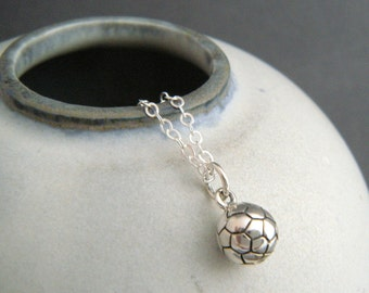 tiny sterling silver soccer ball necklace. small soccer mom pendant. uk football player charm petite gift athlete women sports jewelry 1/4""