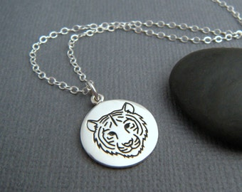 "sterling silver tiger necklace. spirit animal charm. power animal pendant. big cat totem. talisman jewelry. nature soul meditation gift 5/8"""