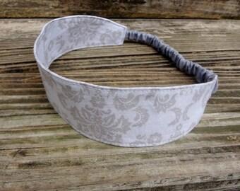 Fabric Headband with Elastic: Tonal Gray Damask