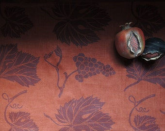 vineyard botanical hand block printed linen tea towels home decor gift for gardener set of four