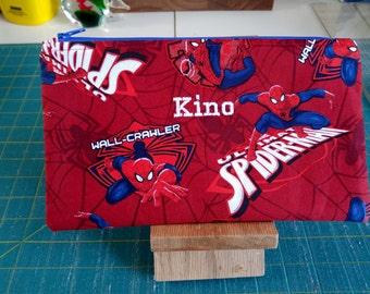 SUPER HEROS Spider Man Pencil Case/Zipper Pouch/Personalized Case/Back to School/Child Gift/School Supplies/Gadget Case