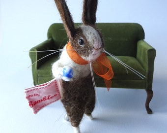 Original Needle Felted Brown Dutch Bunny with Tiny Teacup