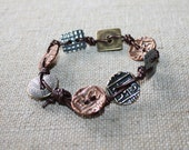 Mixed Metals and Leather Bracelet, Copper, Brass, Silver Plated Bracelet, BOHO Bracelet, Leather Bracelet, Metal Bracelet, Textured Metals