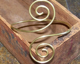 THICK Smooth Double Large Swirl Armlet - Brass Armband - Armband - Upper Arm Cuff - Available in Brass - Bronze - Copper - German Silver