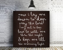 Bedtime Prayer Sign Now I lay me down to sleep pray the Lord my soul to keep Minimalist Nursery Canvas Nursery Decor baby gift New Baby