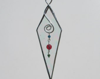 Icicle Stained Glass Suncatcher Home Decor or Christmas Holiday Ornament