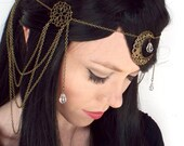 Moon Goddess Headpiece in Bronze and Clear