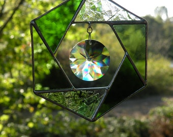 Stained Glass Hexagon Crystal Sun Catcher Greens and rainbows