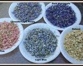 Larkspur Flower confetti-Deep Blue-Blue-Light pink-Ivory-flower petals-1 cup of flower girl basket petals-Candle supplies-Soap supplies