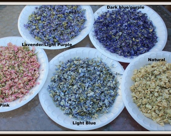 Larkspur Flower confetti-Deep Blue-Blue-Light pink-Ivory-flower petals-1 cup of flower girl basket petals-Candle supplies-Soap supplies