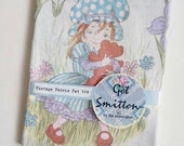 Retro 1980s Holly Hobby Sarah Kay Girl with Flowers Pretty Pastel English Vintage Fabric Sheeting Fat Quarter for Sewing & Patchwork