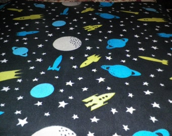 Planets and Space Ships Fleece Throw Blanket