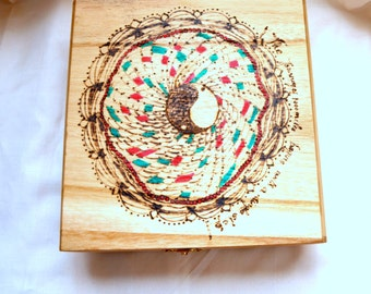 Pyrography Art Zen Art Yoga Art Mandala Art Altered Box Yin Yang Art