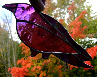 Crow Raven Gothic  Birds Stained Glass Suncatchers Pagan Wicca Halloween Yule Handmade in Canada Nevermore Poe Original Design©