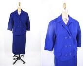 1960s suit vintage 60s royal blue textured double breasted suit set M/L
