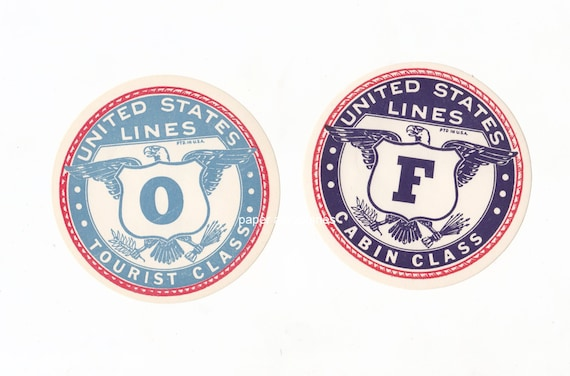Pair of Vintage Ocean Liner United States Eagle Luggage Labels for Altered Arts Collage Mixed Media