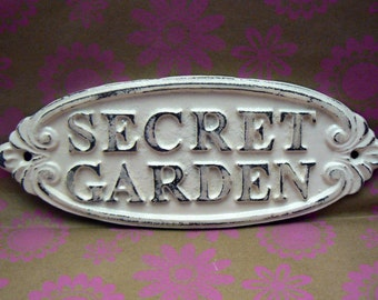 Secret Garden Gate Wall Plaque Sign Cast Iron Distressed Shabby Chic Off White Oval Oblong Ornate Scroll Accented Wall Door Sign