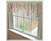 Plum Softly Fresh Green and Plum  Tones Stained Glass Window Treatment Valance Curtain Bathroom Kitchen