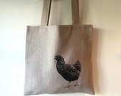 Hand printed linen tote with hen