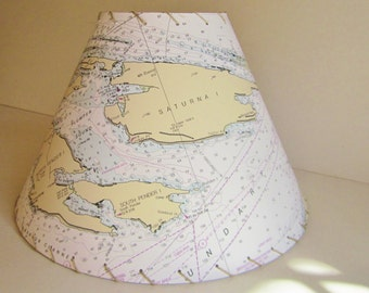 Saturna Island NOAA Ocean Chart Lamp Shade, Custom Nautical Lampshade, MapShades, Nautical Decor, Gulf Islands, British Columbia Islands