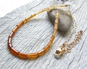Hessonite Garnet and Gold Chain Necklace, Minimalist Ombre Orange and Amber Necklace