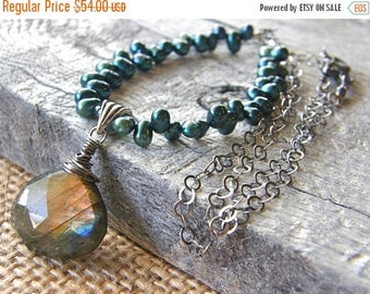 Summer Sale Labradorite Pendant and Teal Pearl Necklace, Blue Flash Stone Drop Necklace
