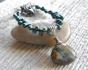 Labradorite Pendant and Teal Pearl Necklace, Blue Flash Stone Drop Necklace