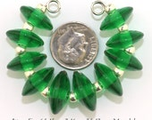 Lampwork Bead Set, Emerald Green Murano Glass lampwork Disc beads, Made to Order, green disk lampwork beads, Bims Bangles