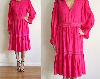 Vtg Fuschia Pink LUCIE ANN Cotton Crochet Lace Ethnic Boho Midi L