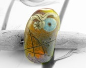 owl in my garden , abstract glass owl bead