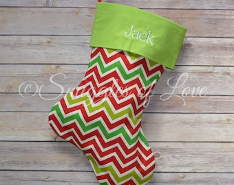 Personalized Chevron Christmas Stocking - Red and Green Chevron Stocking - Zig-Zag Christmas Stocking - Embroidered Chevron Stocking
