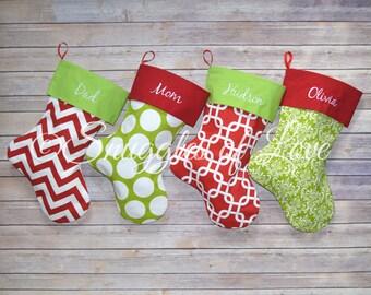christmas stocking set christmas stockings set of 4 stockings monogrammed christmas stocking - Monogrammed Christmas Stockings