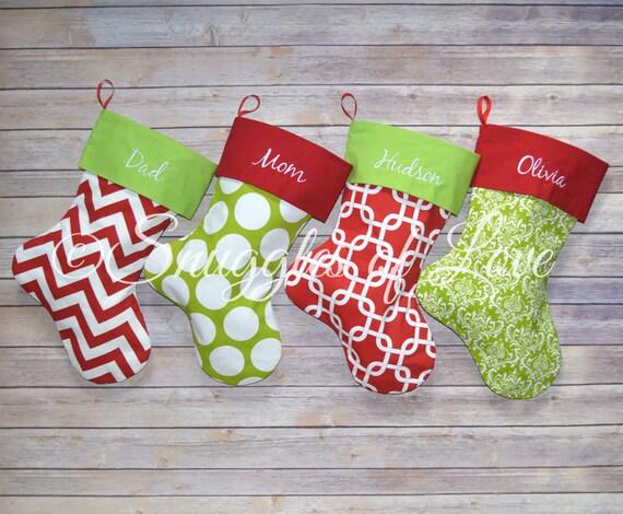 Christmas Stocking Set, Personalized Christmas Stockings, Set of 4 Stockings, Monogrammed Christmas Stocking Set Embroidered Stockings
