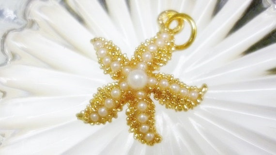 Seed Pearl Golden Starfish Pendant,Starfish Pearl Charm pendant,Gold Seed pearl Starfish Pendant charm