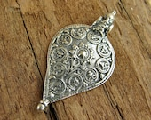 Sterling Silver Pendant - Ornate Sterling Silver Floral Filigree Teardrop Pendant - One Piece - poft