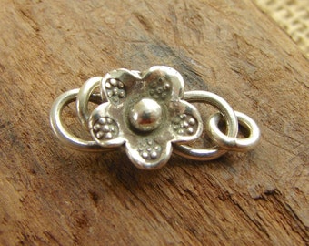 Thai Fine Silver Flower S - Hook Clasp - Hill Tribe Fine Silver findings - htfsfhc