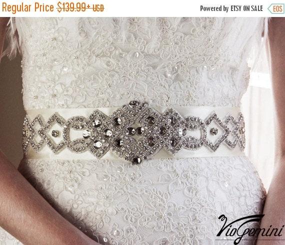 20% OFF SALE Art Deco Silver Sash Rhinestone Belt Rhinestone Sash Bridal Sash Bride Belt Wedding Belt