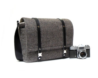 Camera + tablet messenger bag - gray herringbone