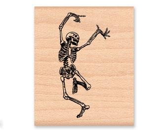 Skeletons Rubber Stamp Set~Right and Left~Dancing Skeleton~Bones~Happy Halloween~Party Favor~Invitation~Illustration wood mounted(59-15/16)