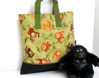 Monkey Tote / Kindergarten Tote / Book Bag / Overnight / Travel /Toy Storage / Embroidered