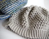 Popcorn Knit Tuque in Silver