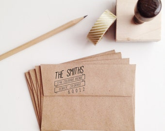 Slanted Banner Wooden Address Stamp
