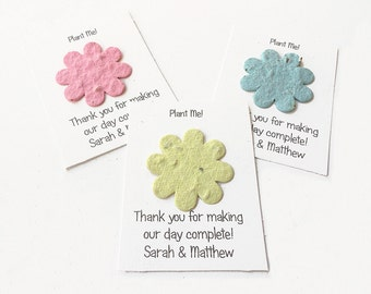 Petite Plantable Flower Seed Paper Flower Shape Personalized Cards - wedding favors, engagement announcements, thank you cards - Set of 12