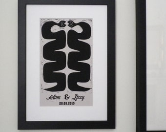 Personalised 'Happy Snakes' Anniversary Print