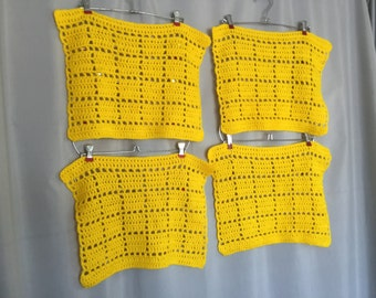 Yellow Placemats Set of 4 Vintage Crochet Table Linens